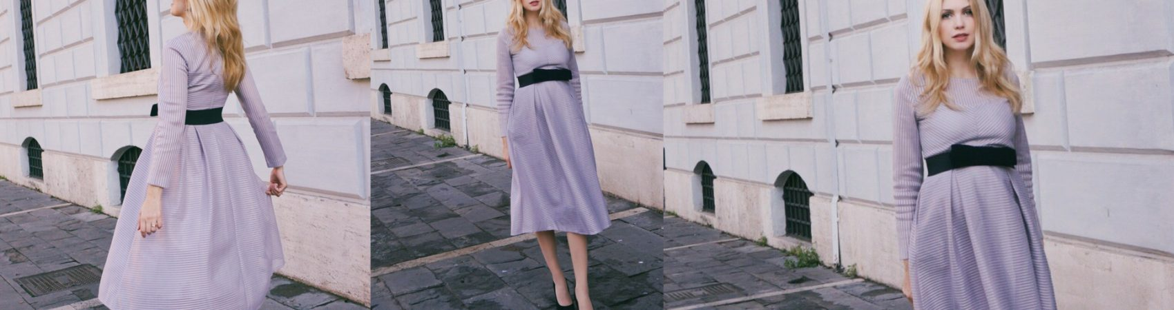 Purple midi dress for a chic afternoon