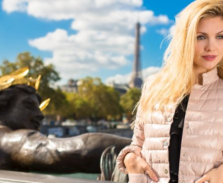 My Pink down jacket in Paris